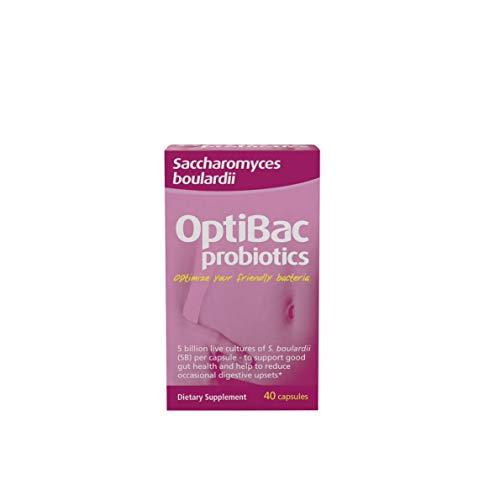 OptiBac Probiotics Saccharomyces Boulardii   5 Billion CFU Saccharomyces Boulardii Supplement   Vegan & Gluten Free   40 Capsules
