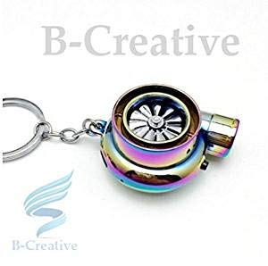 Be-Creative UK Premium Quality LED Turbo Supercharger Honda, Civic Turbine Rechargeable USB Electronic Cigarette Lighter Keyring KeyChain 2017 (Rainbow/Neon Chrome): Toys & Games