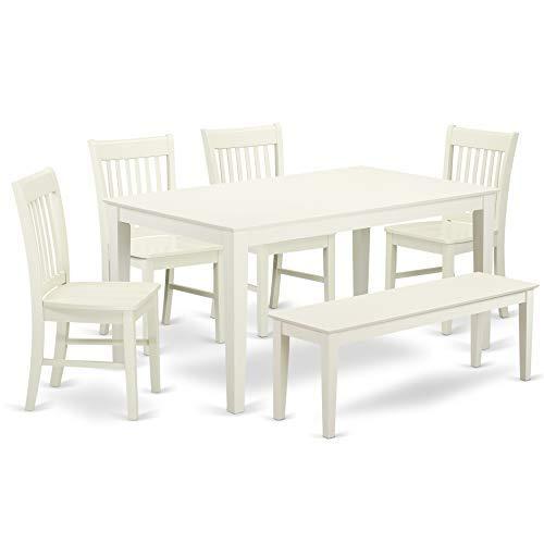 East West Furniture CANO6-LWH-W Capri Set Linen White