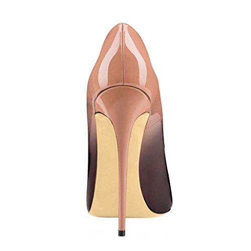 EKS Damen Atumoa Peep Toe Pumpen Stilettos High Heels Schuhe EU 35-46 Nackt-Schwarz