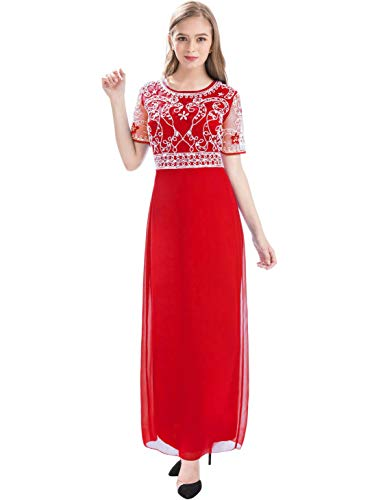 Women Chiffon Beaded Embroidered Sequin Long Gowns Prom Evening Bridesmaid Dress (XL, red) ()