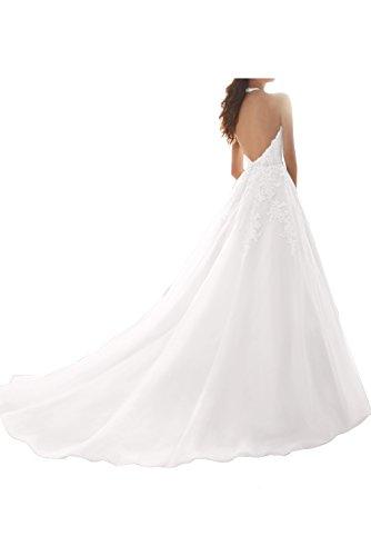Ballkleid V Ivydressing Spitze Neckholder Abendkleid Damen Ausschnitt Elegant Hellorange Hochzeitskleid wwCq48IfF