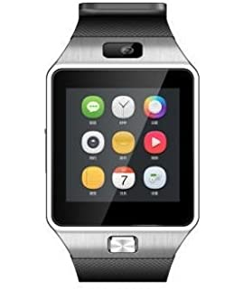 Bluetooth Smart Watch with Camera, Aosmart DZ09 Smartwatch for Android Smartphones - Silver