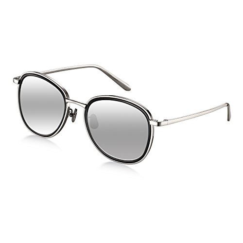Titanium Round Women Sunglasses, Wenlenie Round Aviator Shades Silver Titanium Frame with Silver Mirrored Nylon - Face Glasses Shape Oblong