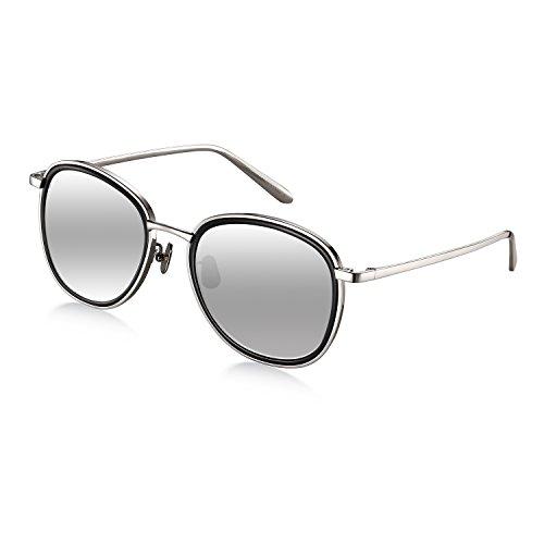 Titanium Round Women Sunglasses, Wenlenie Round Aviator Shades Silver Titanium Frame with Silver Mirrored Nylon - Scratch Titanium