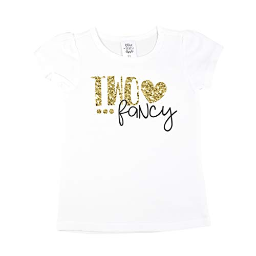 Olive Loves Apple Two Fancy Shirt for Girls 2nd Birthday Shirt for Baby Girls Gold Glitter 2nd Birthday Outfit