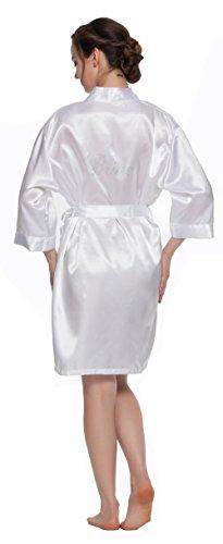 Lavenderi Women's Wedding Kimono Robe with Shining Rhinestonesde at the back of robe