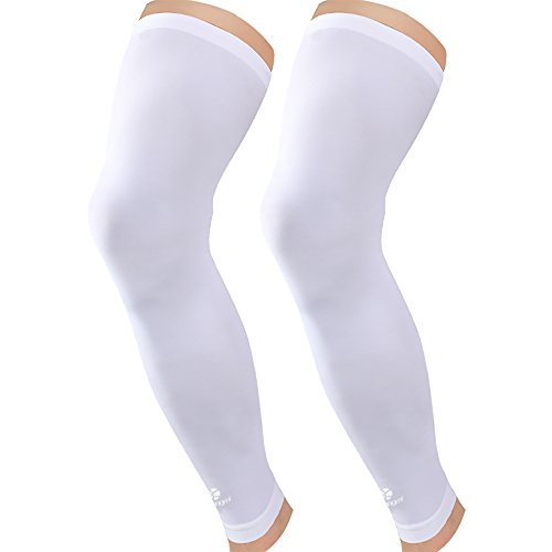 Kuangmi Leg Compression Sleeve (1 pair) Breathable UV Sun Protection Women & Men Basketball,Running,Cycling,Pain Relief,Shin Splints (White (Pack of 2), - Season Is When Cycling