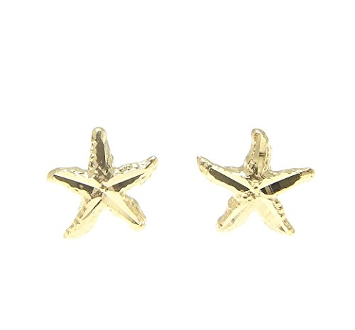 14K yellow gold Hawaiian 7mm diamond cut sea star starfish (14k Star Earrings)