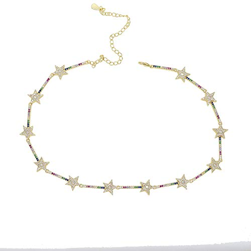 (New Dainty Colorful Chain Shiny Stars Choker Necklace Simple Short Charm Chokers Collars for Women Bijou Necklaces 35+10CM )