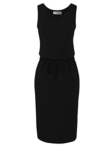 Women Dress Sided WARE Slits Black TAM Midi Waist Elasticized z0Ax5n5P