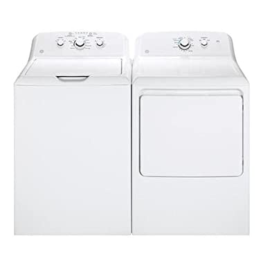 GE White Laundry Pair with GTW330ASKWW 27  Top Load Washer and GTD33EASKWW 27  Front Load Electric Dryer