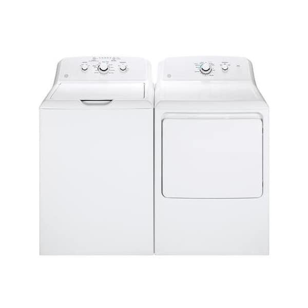 GE White Laundry Pair with GTW330ASKWW 27″ Top Load Washer and GTX33EASKWW...