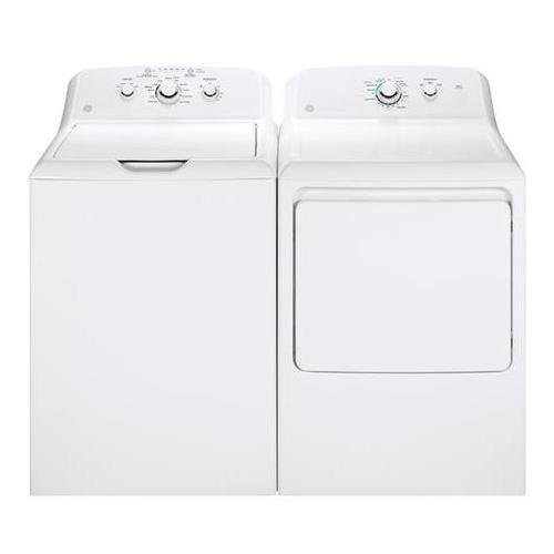 "GE Top Load Deep Rinse GTW330ASKWW 27"" Washer with GTD33GASKWW 27"" Front Load Gas Dryer Laundry Pair in White"
