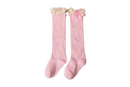 anni 5 8 Acvip Gamba Pizzo Girl inverno Comodo 1 colori Sock Scaldamuscoli Cotone caldo Toddler rosa Ginocchio xAAZnFqCPw