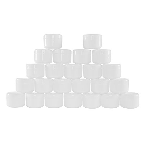White 4 Ounce Plastic Jar Containers, 24 Pack of Storage Jars Inner and Outer Lid By Stalwart- For Travel, Cosmetic, Liquid, Makeup, Organization