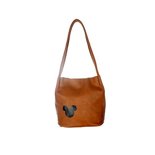 SSJ Mickey Mark Shoulder Bag PU Leather Bucket (Brown)