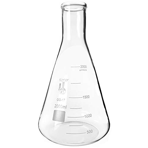 2000ml Narrow Mouth Erlenmeyer Flask, 3.3 Borosilicate Glass, Karter Scientific 213G15 (Single) (Laboratory Apparatus And Equipments And Their Uses)