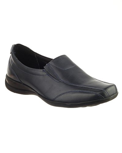 Amblers Womens MERTON Black Twin Gusset Leather Casual Blue