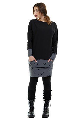 maniche abito con donna con Grigio di e invernali colombe minigonna vestito donna de 3Elfen pipistrello tasca qYdgWwdxR