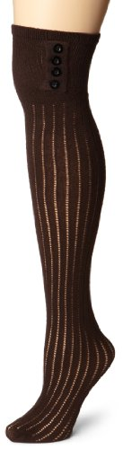 K. Bell Socks Women's Ribbed Over-The-Knee Sock W/ Button Detail,Brown,9-11