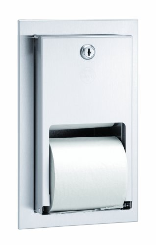 Bradley 5412-000000 22 Gauge Stainless Steel Recessed Mounted Stacking Rolls Toilet Tissue Dispenser, 5-5/8