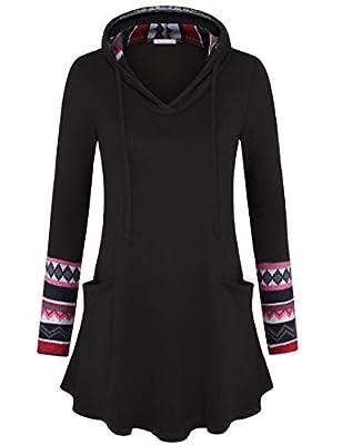Youtalia Women's Pullover Sweatshirt Long Hoodies Colorblock Geometric Tunic Top with Pockets