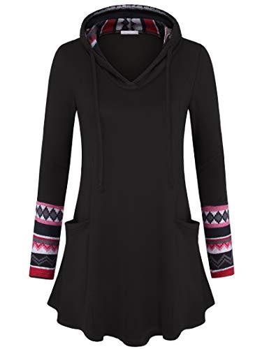 Youtalia Womens Pullover Sweatshirt Long Hoodies Colorblock Geometric Tunic Top with Pockets