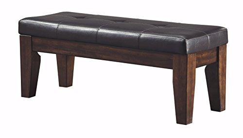 Ashley Furniture Signature Design - Larchmont Large Dining Room Bench - Upholstered - Vintage Casual - Burnished Dark Brown,signature design by ashley
