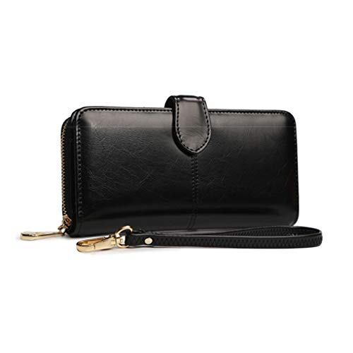 Zip Synthetic Handbag Beaums Card Girlish Long Leather Women Holder Purse Clutch Black Antique Polished Wallet BxqpCw5