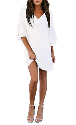 BELONGSCI Women's Dress Sweet & Cute V-Neck Bell Sleeve Shift Dress Mini Dress White