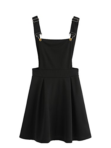 Romwe Women's Cute A Line Adjustable Straps Pleated Mini Overall Pinafore Dress Black L