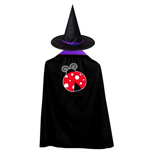 Halloween Children Costume Ladybug Lady Wizard Witch Cloak Cape Robe And Hat -