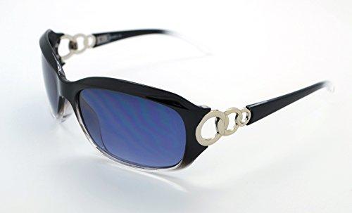 Vox tendance classique haute qualité pour femme Mode Hot Lunettes de soleil W/étui microfibre gratuit Black/Clear Frame - Smoke Lens