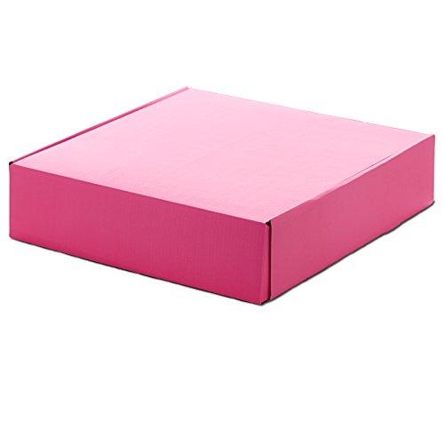 10ea - 8 X 8 X 3 Hot Pink Corrugated Tuck Top Box-Pkg