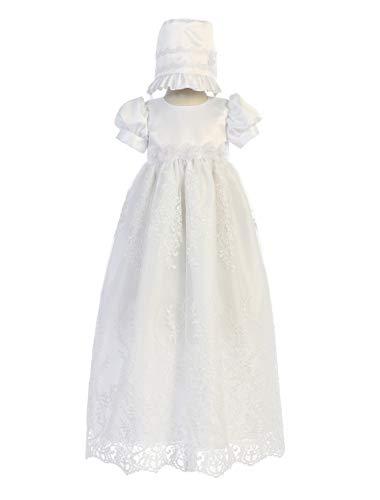 New Baby Girls White Satin Embroidered Tulle Dress Gown Christening Baptism Dedication Bonnet 0-18M (0-3 ()