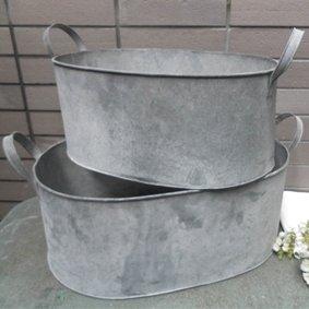 Set 2 Galvanised Metal Vintage Style Wooden Bucket Bath Planters