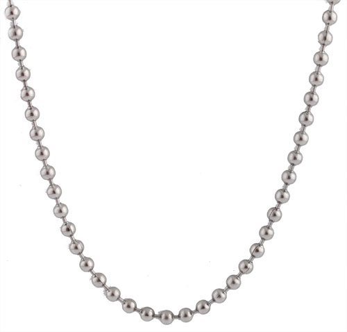 2 Pieces of Stainless Steel Silvertone 3mm 30 Inch Ball Chain Necklace