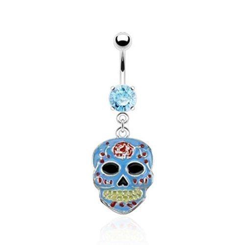 Coolbodyart piercing pour nombril avec pendentif en argent avec zuckerschädel epoxyd zirkoniaschmucksteinen aqua