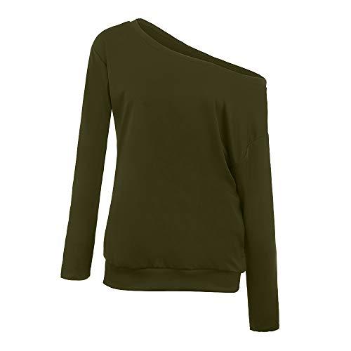 Top Plus Size Women Long Sleeve V-Neck Solid One-Shouder Blouse Fashion T-Shirt
