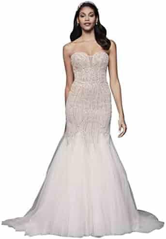 8ecf7d0a7c David s Bridal Beaded Tulle Sweetheart Trumpet Wedding Dress Style SWG823