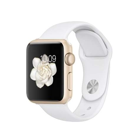 Apple Watch Series 2 Smartwatch 42mm Gold Aluminum Case, White Sport Band GPS (Renewed)