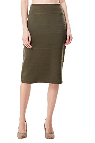 MoDDeals Women's Regular and Plus Size Cotton Knee Length Classic Stretchy Slim Bodycon Pencil Skirt for Office and Business (Large, Ribbed (Khaki Green Color)