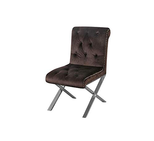 Wood & Style Furniture Chocolate (Set of 2) Claire Dining Chair Velvet, Home Office Commerial Heavy Duty Strong Décor