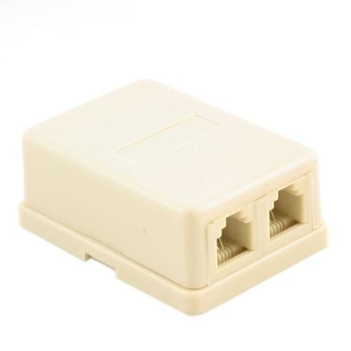 Rj11 Wall Mount - Dual Telephone Surface Wall Mount Phone Jacks Outlet 4C RJ11 Beige