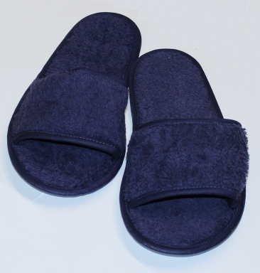 hochwertige Frottee Slipper blau mit offenen Zehen, Classic Terry Slipper / Schuhe / Hausschuhe / Pantoletten / Hotelslipper / Badeschuhe