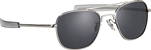 HUMVEE HMV-57B-SILVR Polarized Bayonette Style Military Sunglasses with Gray Lens and Chrome Silver Frame, - Sunglasses Chrome Lens