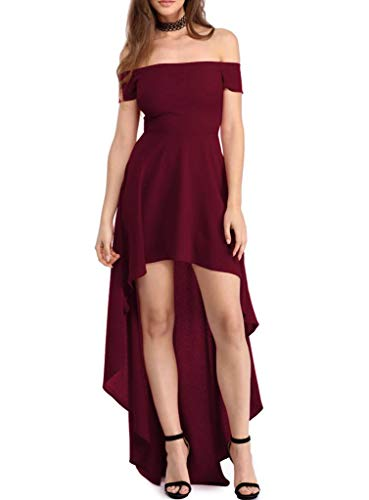 Sidefeel Women Off Shoulder High Low Maxi Party Dresses Medium Burgundy -