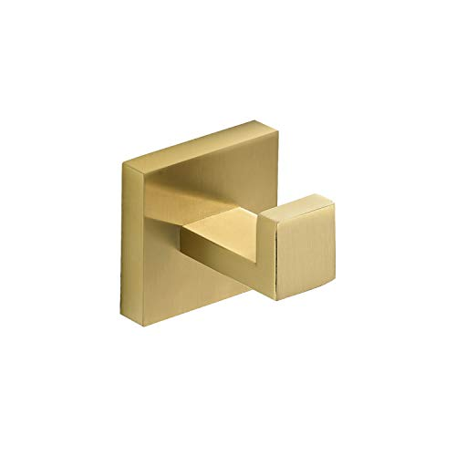 Marmolux Acc Towel Hook Gold Bathroom Hooks Single Robe Coat Hook Closet Door Hanger Bath Hand Towel Holder Heavy Duty Kitchen Square Towel Rack Bath Hardware Accessories Stainless Steel Gold Brushed