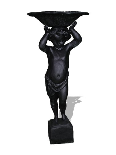 Amedeo Design ResinStone 1001-2B English Cherub Urn/Planter, 22 by 22 by 50-Inch, Black by Amedeo Design